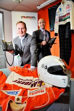 York entrepreneur Alex Deighton, a former Formula First Champion (left), and Al Althraby from Hull get under starters orders as they launch YooZoom4Business a new 'one-stop' communications brand